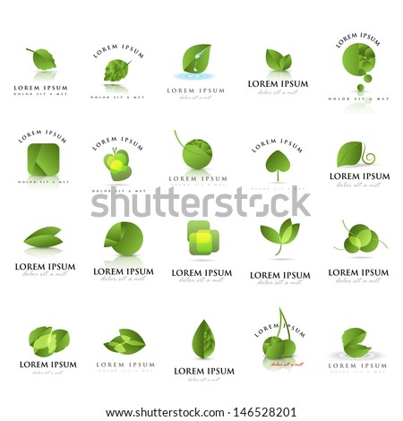 Leaf Icons Set  - Isolated On White Background - Vector illustration, Graphic Design Editable For Your Design. Leaf Logo - stock vector
