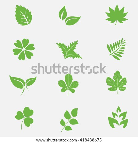 Leaf icons set vector - stock vector