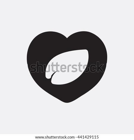 Leaf in heart Icon, Leaf in heart Icon Eps10, Leaf in heart Icon Vector, Leaf in heart Icon Eps, Leaf in heart Icon Jpg, Leaf in heart Icon, Leaf in heart Icon Flat, Leaf in heart Icon App - stock vector