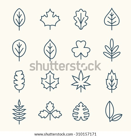 Leaf line icons - stock vector