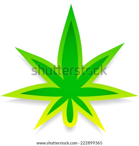 Leaf of cannabis or weed on white. Editable - stock vector