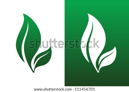 Leaf Pair Icon Vector Illustrations on Both Solid and Reversed Background. - stock vector