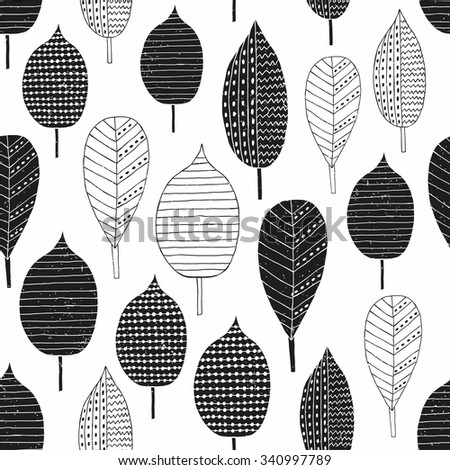 Leaf seamless pattern. Black and white surface decoration.Vector illustration. Cloth design, wallpaper, wrapping. - stock vector