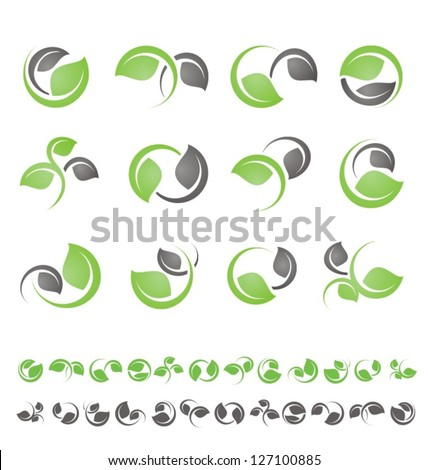 Leaf symbols, icons and signs collection. Set of floral design elements. - stock vector