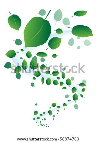 Leaf Tornado. Very green and friendly. - stock vector