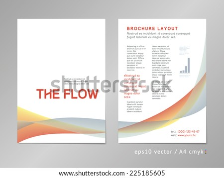Leaflet / brochure / cover / page layout. Color blend design, geometric soft shapes, serious three-colored print style. Smooth flow theme. Business, development and progress concept. - stock vector