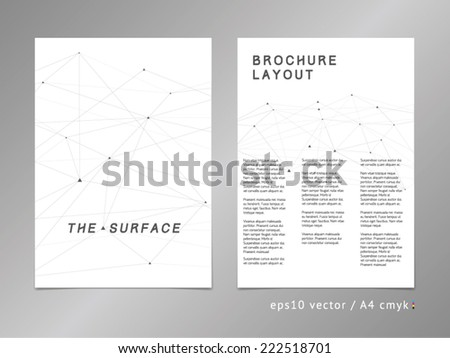 Leaflet / brochure / cover / page layout. Modern polygonal design, geometric sharp surfaces, minimalistic two-colored digital style. - stock vector