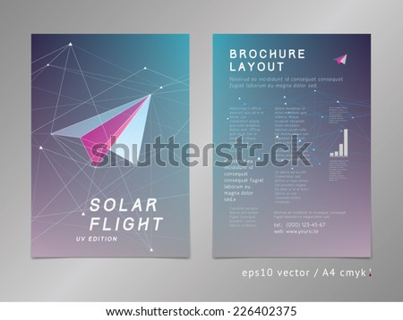 Leaflet / brochure / cover / page layout template. Polygonal design, geometric sharp surfaces, futuristic digital style. Arrow shaped, flight theme. Progress concept. - stock vector