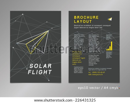 Leaflet / brochure / cover / page layout template. Polygonal design, geometric sharp surfaces, minimalistic color style. Arrow shaped, flight theme. Forward thinking concept.  - stock vector