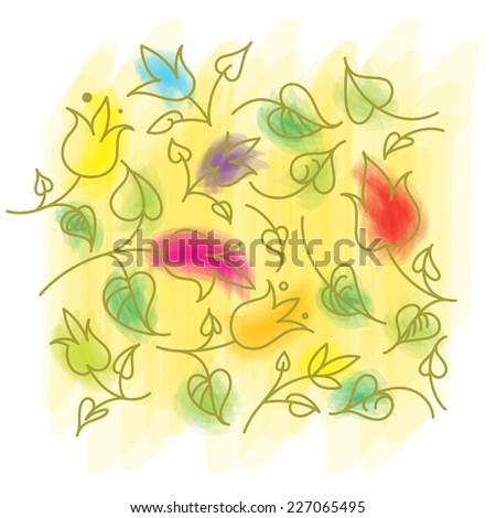 Leafs and Flowers color - nature elements - stock vector