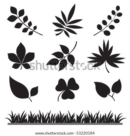 Leafs and Grass Isolated Silhouettes - stock vector