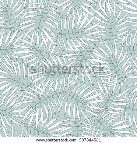 Leafs of palm tree. Seamless pattern. Vector background.