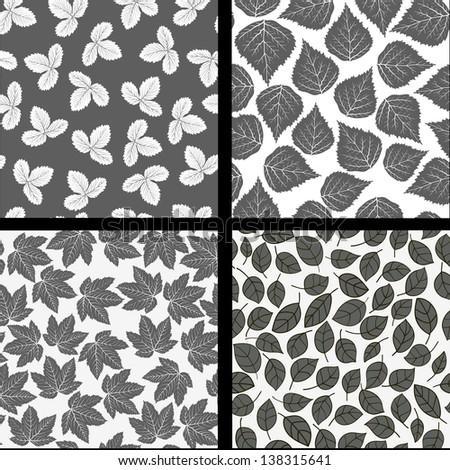 Leafs pattern black white seamless wallpaper - stock vector