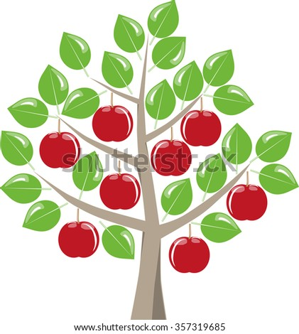 Leafy fruit tree with ripe red apples harvest in summer, green leaves on a white background. Symbolic fruit tree as a graphic on white. - stock vector