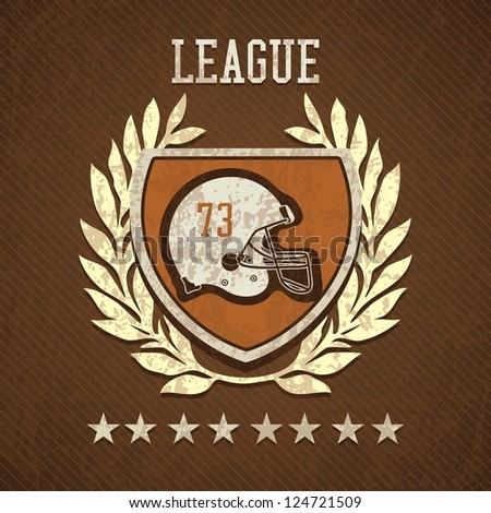 League Shield of american football, on  brown background - stock vector