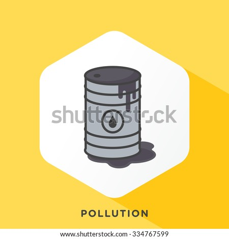 Leaking oil drum icon with dark grey outline and offset flat colours. Modern style minimalistic vector illustration for inefficiency and pollution themes. - stock vector