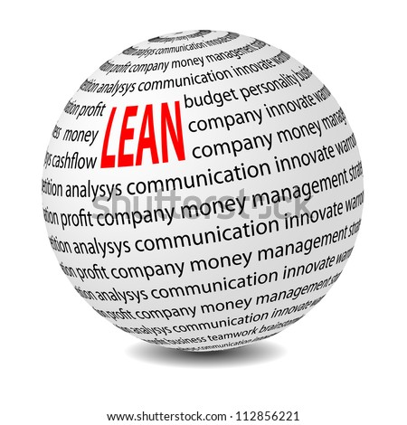 Lean ball with word Lean. Lean is modern program of productivity. Vector illustration - stock vector
