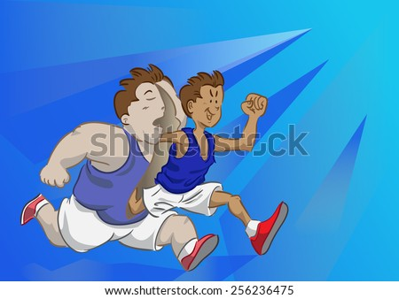 Lean runner come out from fat runner - stock vector