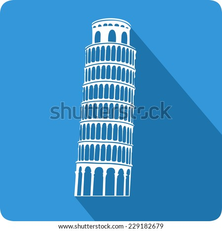 Leaning Tower of Pisa, illustration, vector
