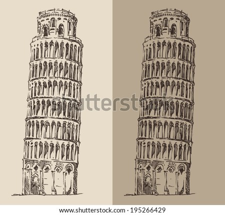 Leaning Tower of Pisa vintage illustration, engraved retro style, hand drawn, sketch