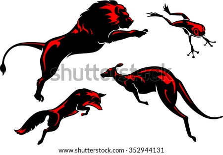 Leaping Animals Set-Variations of jumping animals in simplified form - stock vector