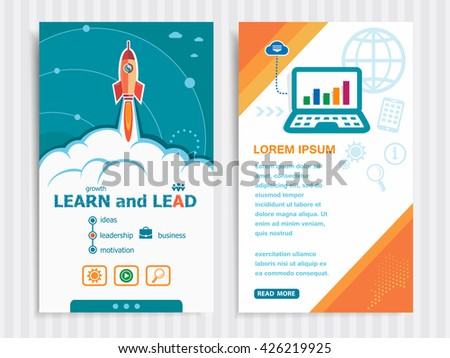 Learn and Lead and concept background with rocket. Project Learn and Lead concepts and Set of Banners. Vector Illustration. Eps10 Format.