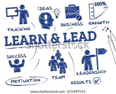 Learn and Lead. Chart with keywords and icons - stock vector