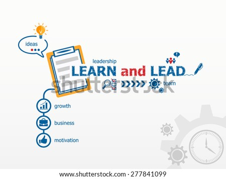 Learn and Lead concept and notebook for efficiency, creativity, intelligence. Hand writing Learn and Lead with blue marker - stock vector
