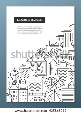 Learn and travel - vector line design brochure poster, flyer presentation template, A4 size layout. Modern composition with traveling and learning symbols, world famous landmarks - stock vector