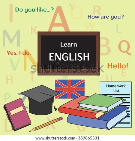 Learn english concept - stock vector