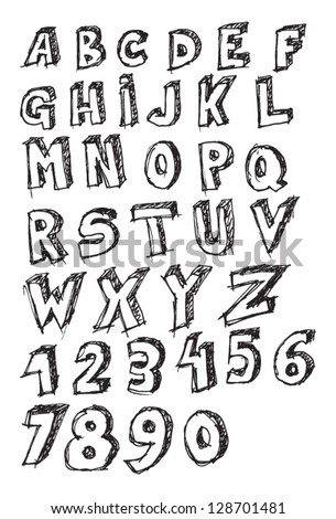 Learning ABC, handwritten alphabet on a piece of paper.