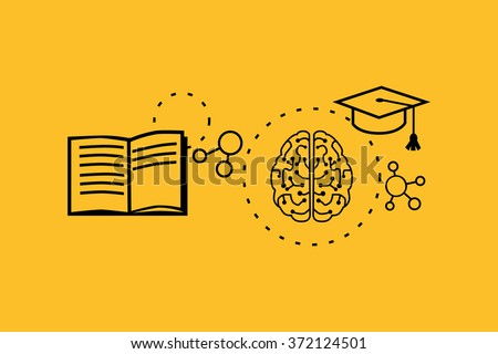 Learning ability concept design. Strategy education, development business skill, solution work, success learn, motivation teaching, training. Back to school. Thin line black on yellow - stock vector