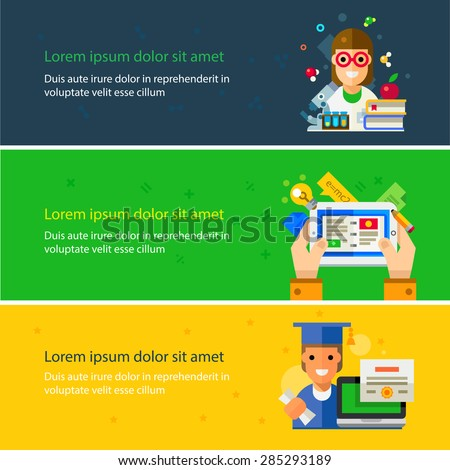 Learning and graduate vector flat theme. Online training, tablet in hands illustration. Students characters. Chemistry, Physics, Mathematics courses. Backgrounds for site - stock vector