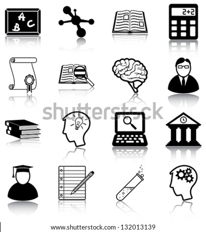 Learning and knowledge related icons/ silhouettes. - stock vector