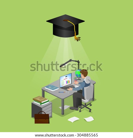 learning at home - stock vector