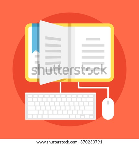 Learning flat illustration. Home education, contemporary education with technology usage. Modern flat design concepts for web banners, websites, printed materials, infographics. Vector illustration - stock vector