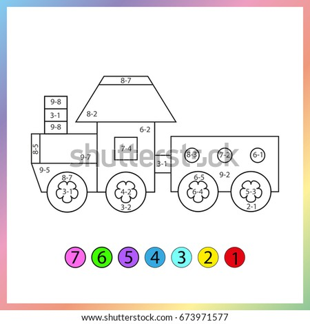 Learning Mathematics Exercises Kids On Subtraction Stock Vector ...