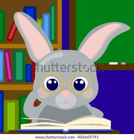 Learning rabbit in glasses, bunny nerd, cute animal nursery illustration, vector illustration for school, studying rabbit, rabbit in school, bunny in library, reading rabbit, reading boy, learning boy - stock vector