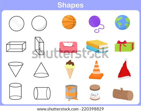 Learning the shapes with object for kids - stock vector