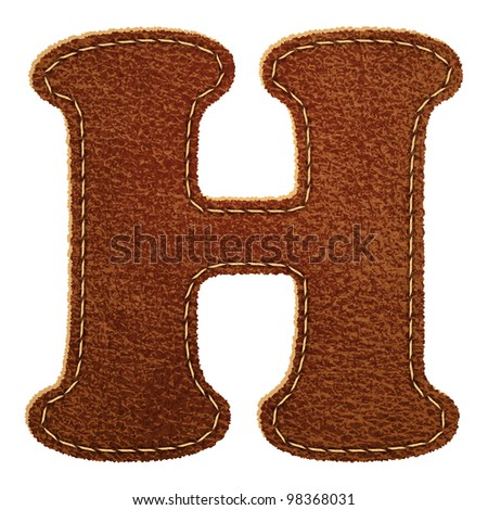 Leather alphabet. Leather textured letter H. Vector eps10 background - stock vector