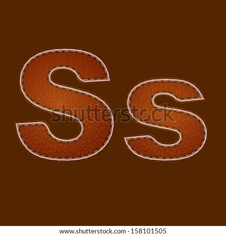 Leather alphabet. Leather textured letter S