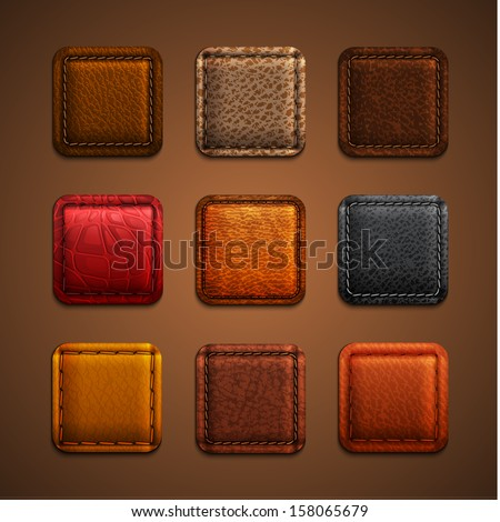 Leather app icons set - eps10 - stock vector