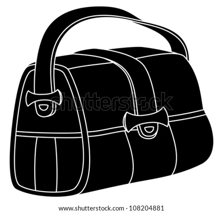 Leather bag with wide belts and fasteners, black silhouette, vector