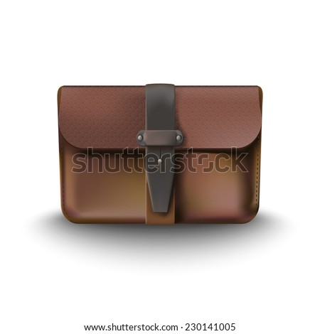 leather briefcase - stock vector
