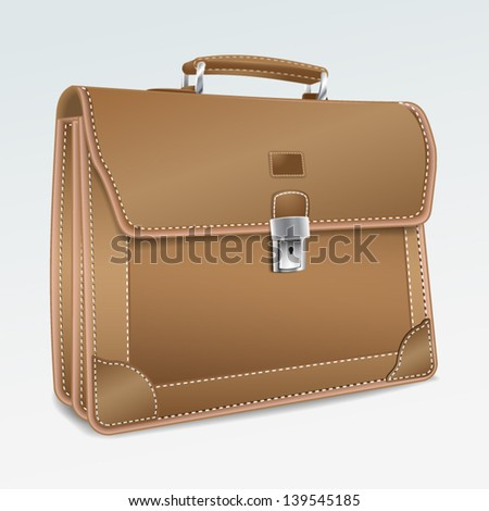 Leather Briefcase on white background. Realistic isolated 3D vector illustration.