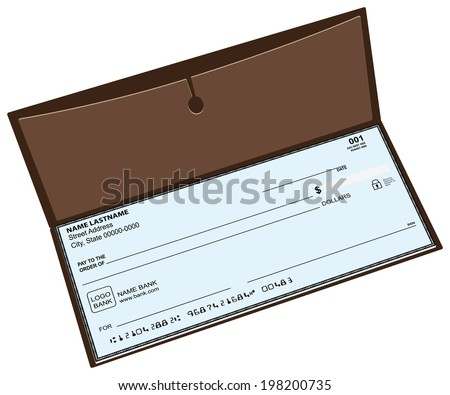 Leather checkbook with a pocket for storing copies of checks. Vector illustration. - stock vector