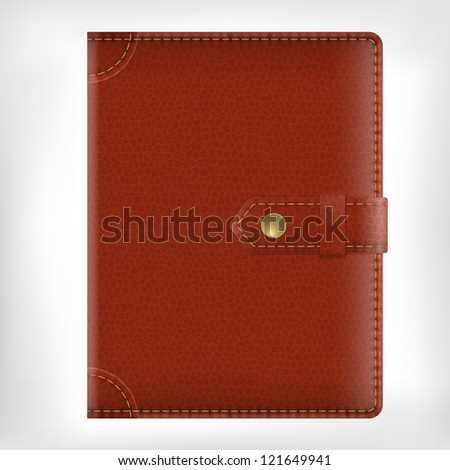 Leather diary book cover isolate on white background - stock vector