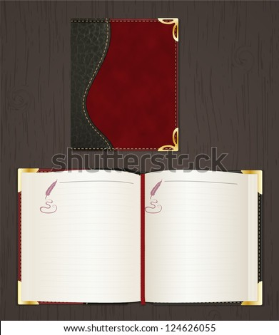 Leather diary (note book, organizer) open and closed. - stock vector