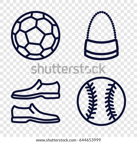 Leather icons set. set of 4 leather outline icons such as man shoe, bag, baseball