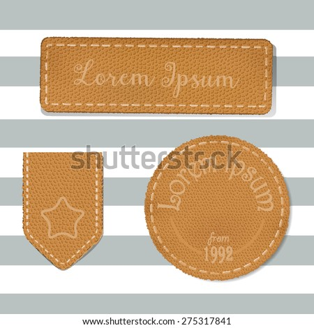 Leather labels collection - EPS 10. Set of leather labels made in vector. - stock vector
